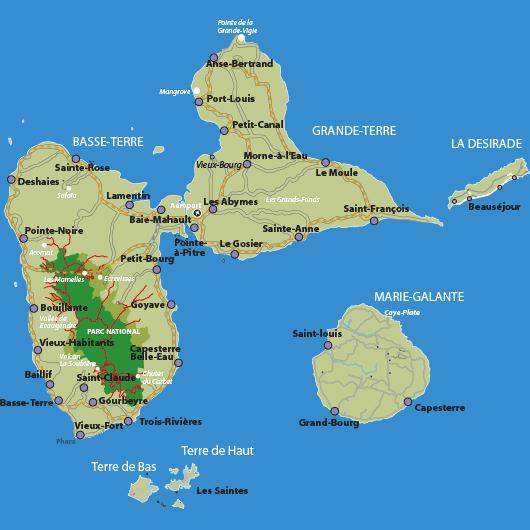 Carte archipel Guadeloupe