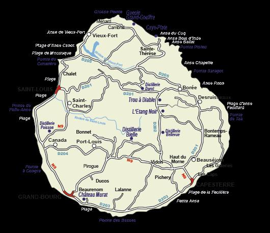 Carte de Marie-Galante Guadeloupe
