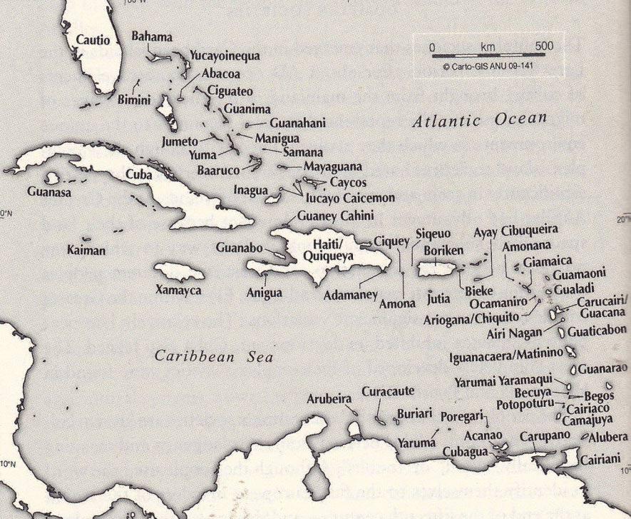 Carte de la Caraïbe avec les noms Arawaks