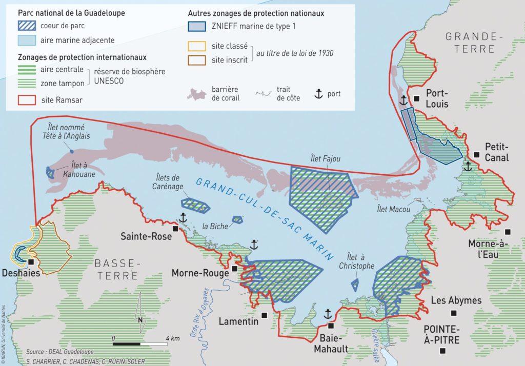 Carte des aires protégées du nord Guadeloupe