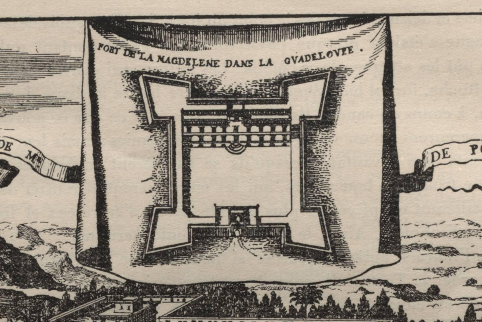 Gravure du Fort de la Madeleine en Guadeloupe