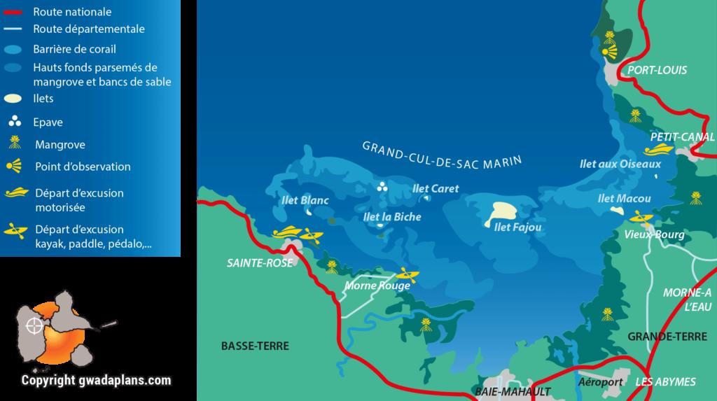 Carte de la réserve marine - nord Guadeloupe