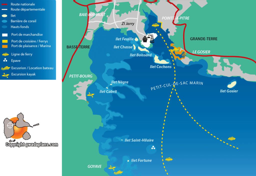 Carte PETIT-CUL-de-SAC Marin - Guadeloupe