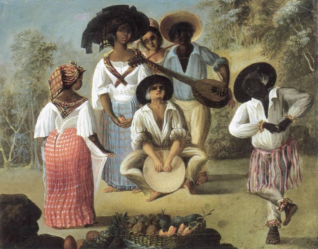 Danse d'esclaves au tambour - Peinture