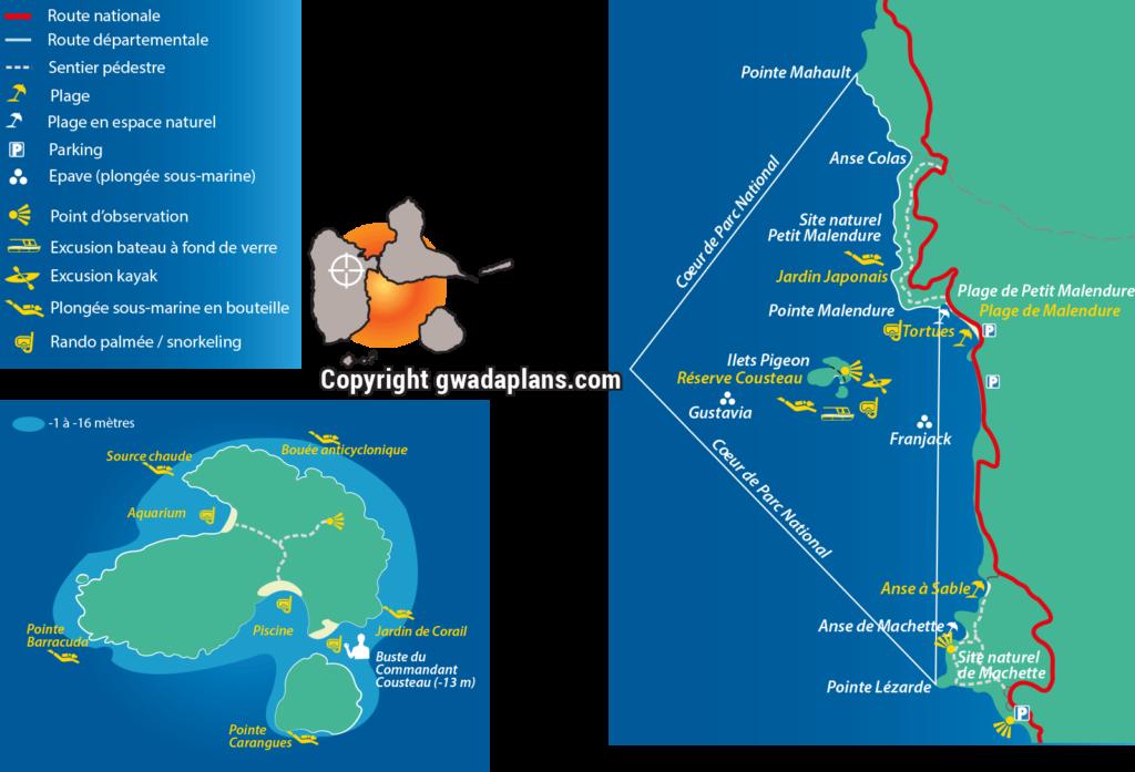 Carte de la Réserve Cousteau et des îlets Pigeon