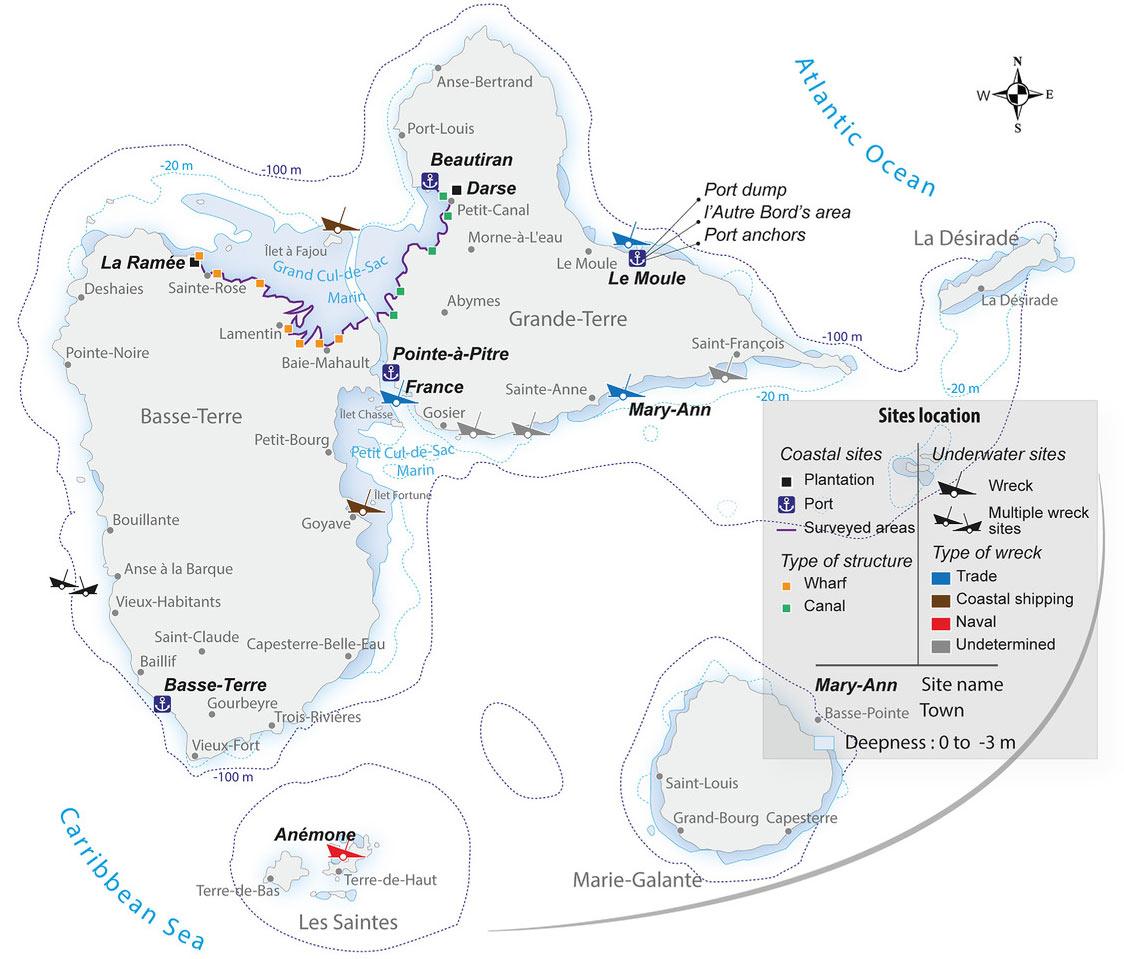 Cartes des recherches archéologiques en Guadeloupe