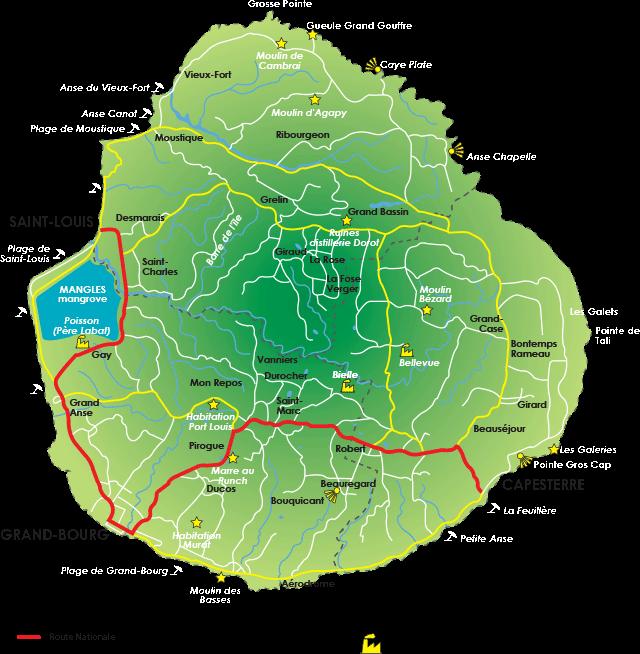 Carte de Marie Galante - Guadeloupe