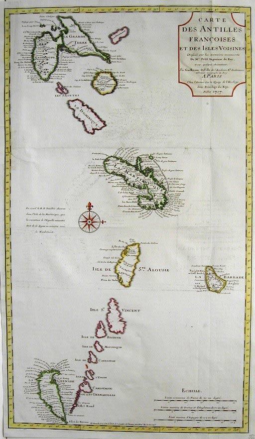 Carte Antilles 1707