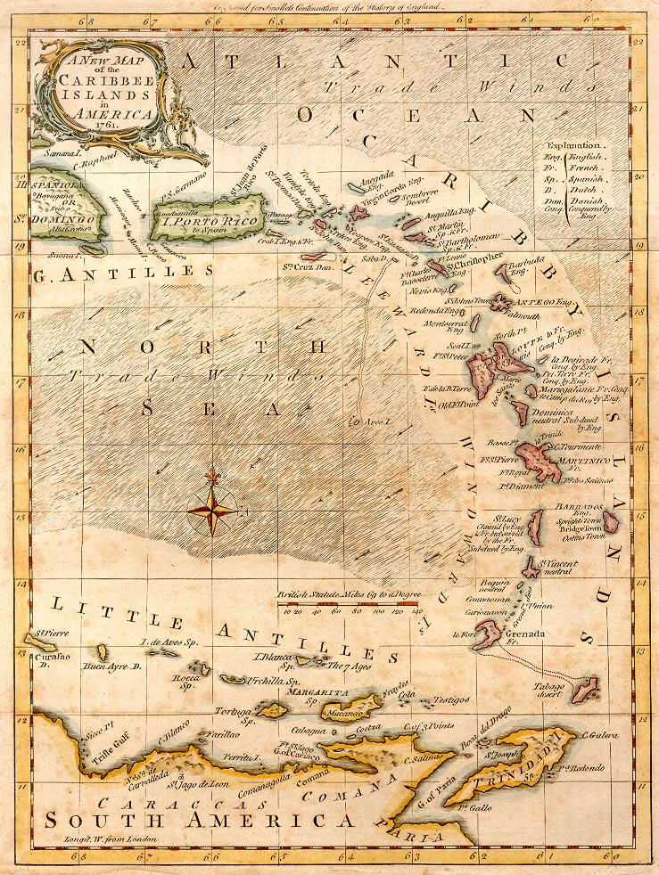 Carte Antilles 1761
